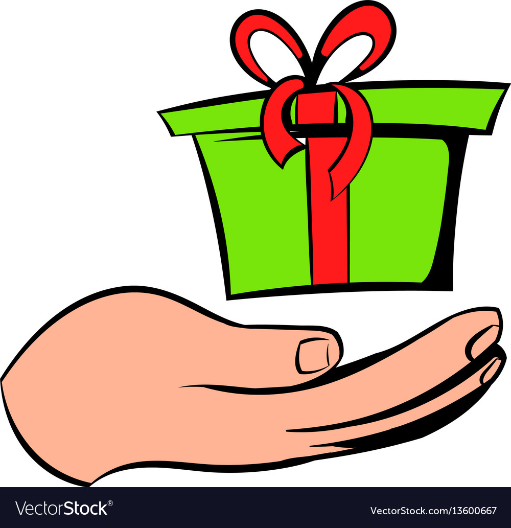 Gift red box in a hand icon icon cartoon