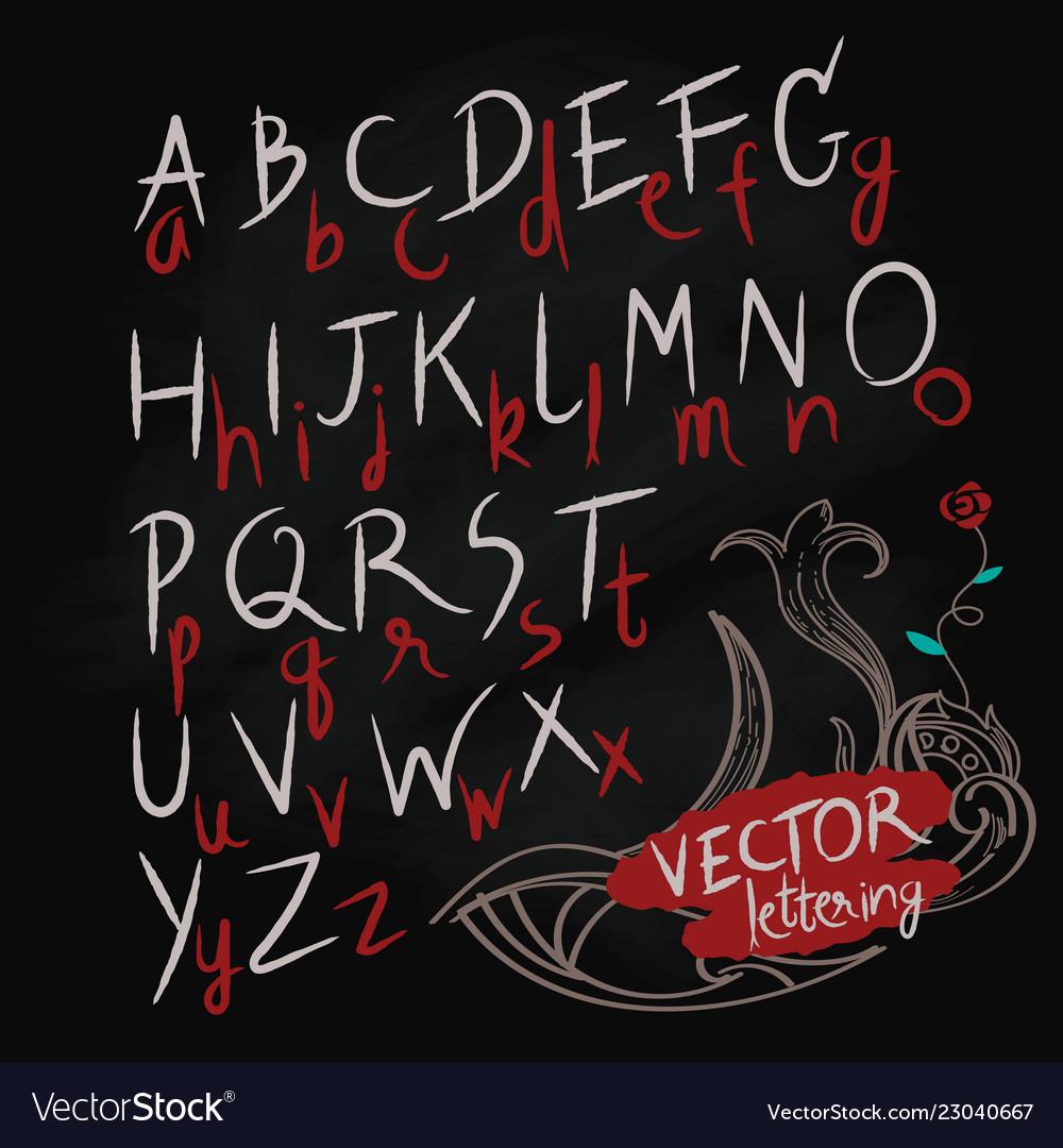 Hand drawn letters alphabet blackboard