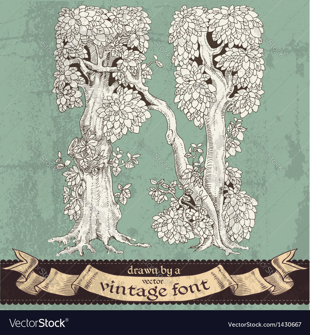 Magic grunge forest hand drawn by vintage font - N