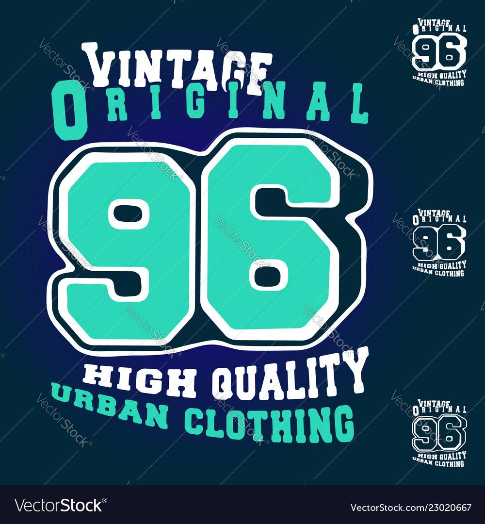 Number 96 vintage t shirt print stamp design