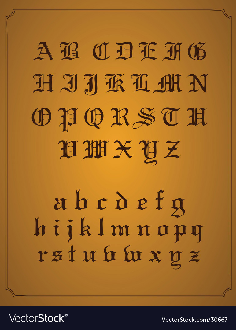 Old English typeset vector image