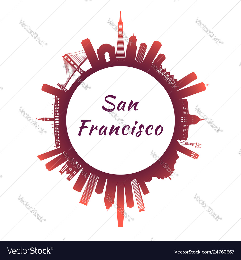 San francisco skyline with colorful buildings