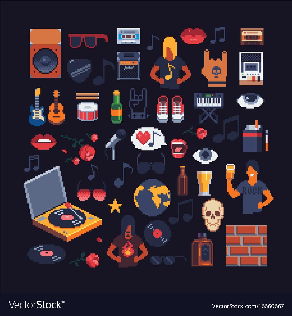 Set of music theme accessories pixel art sprites