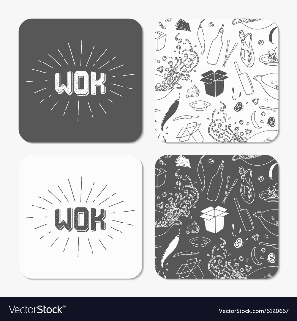 Square table coaster templates set with doodle wok