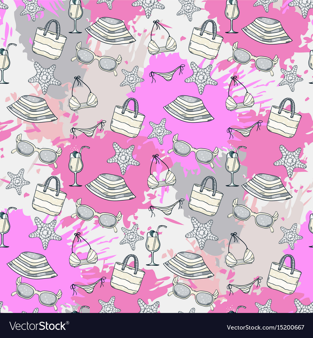 Summer pattern on the background of colorful blots vector image