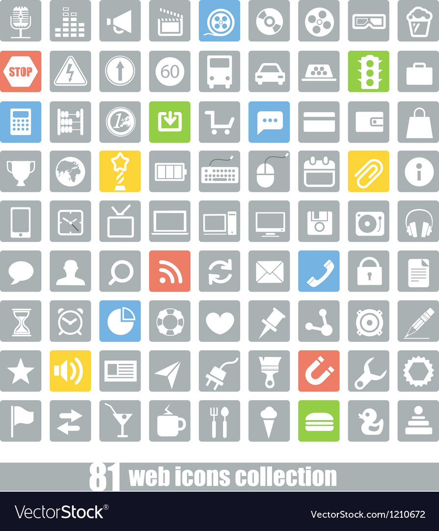 81 Web application icons collection