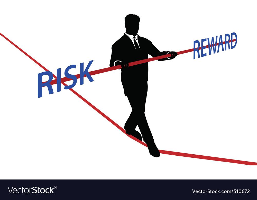 Business man tightrope balance risk reward vector image