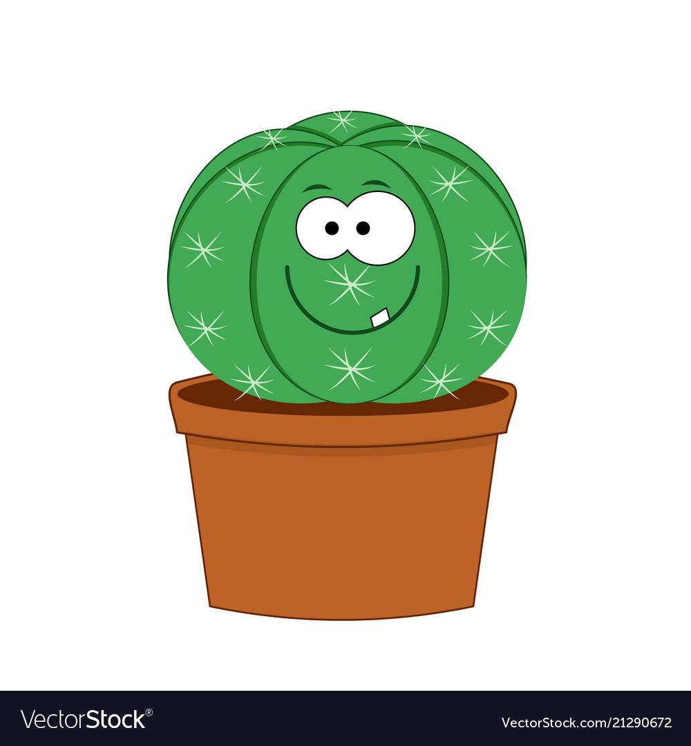 Cute cartoon cactus isolated