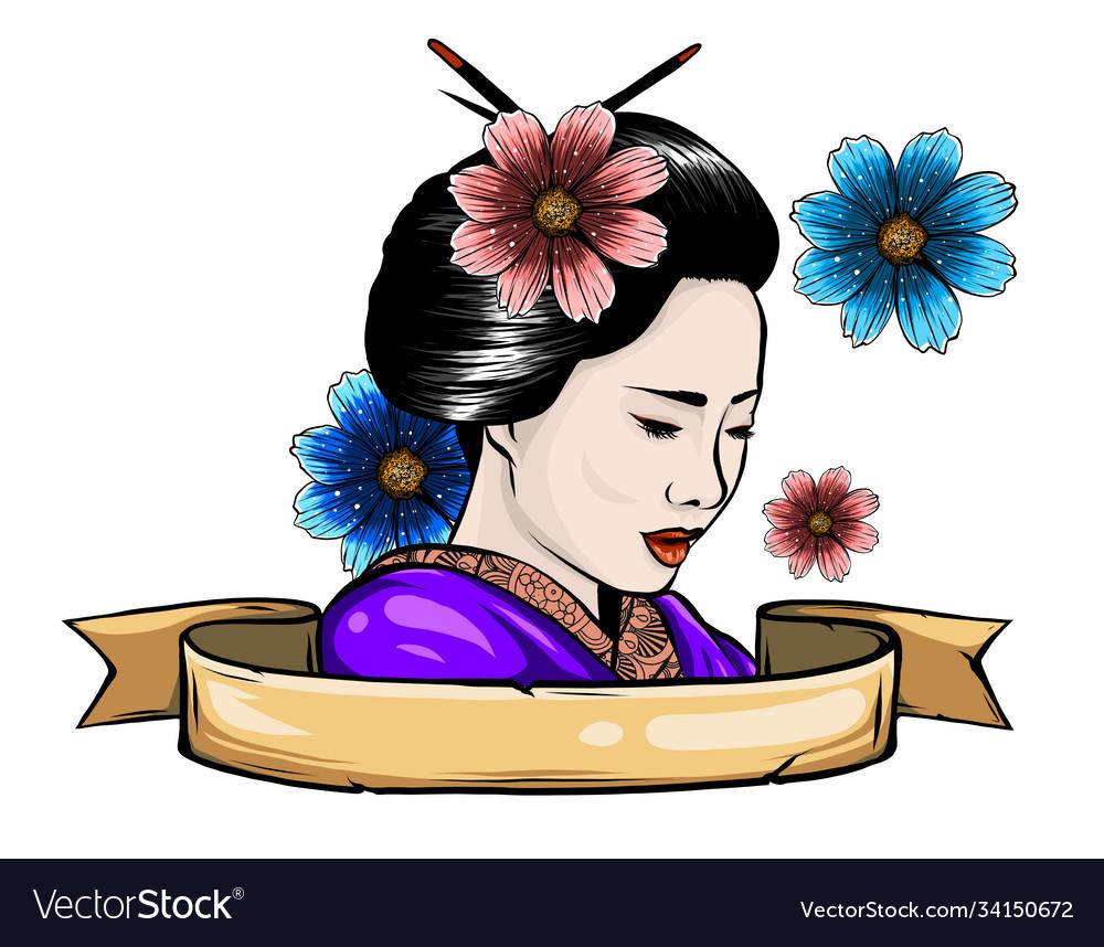 Geisha among blooming flowers