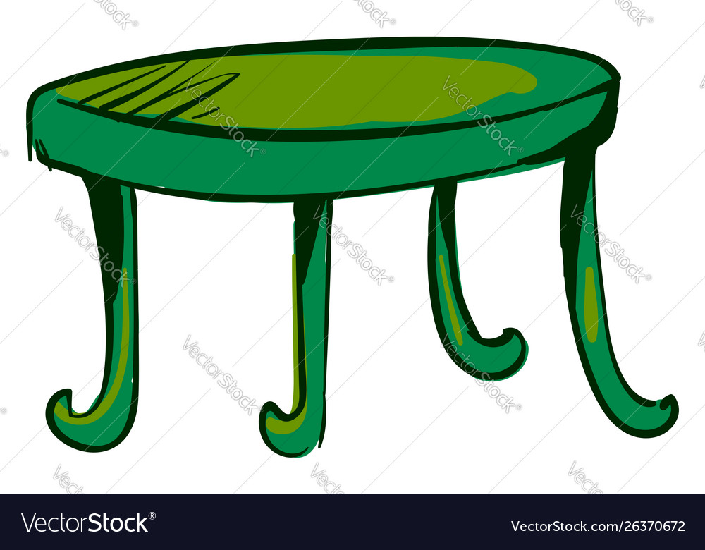 Green table on white background