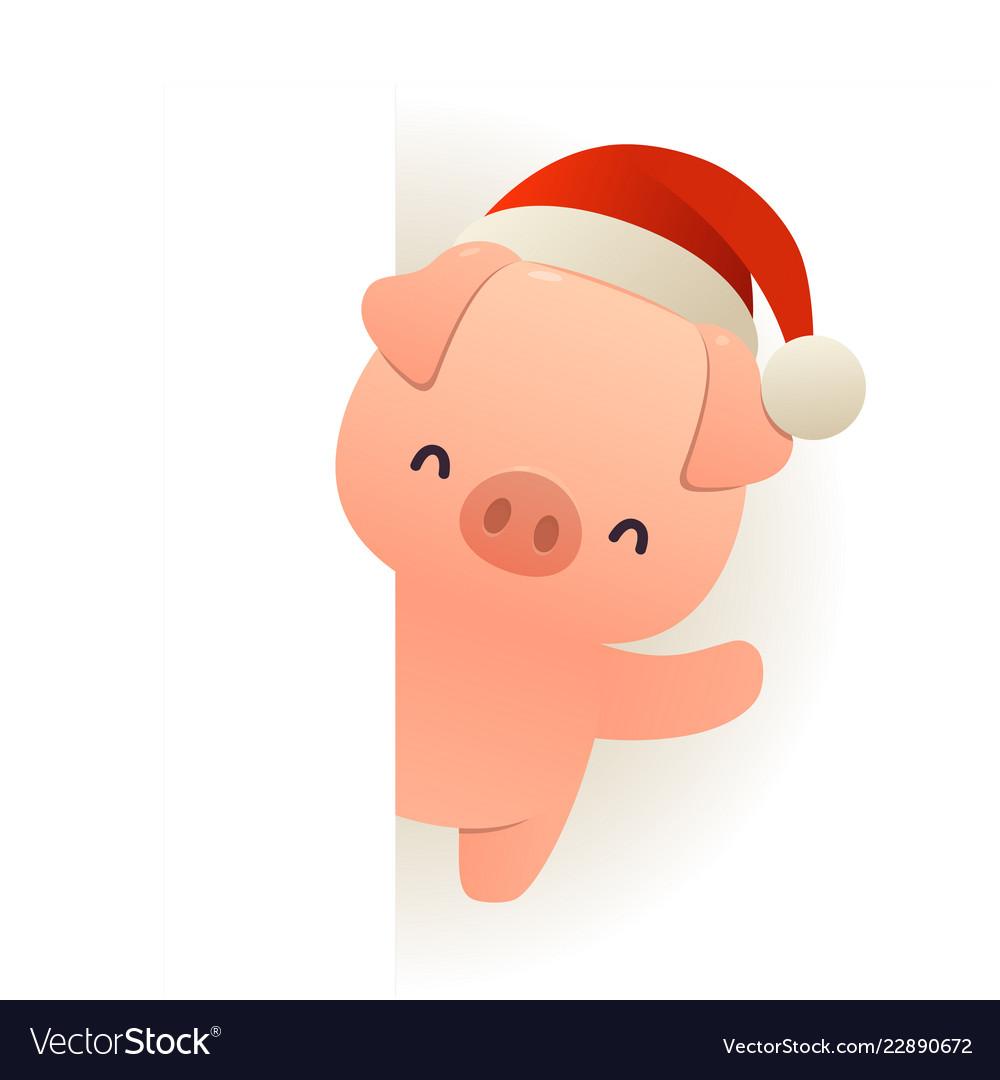 76deaaba20c16 Happy funny pig in santa hat behind blank Vector Image