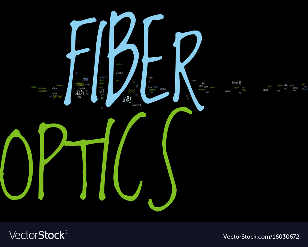 Kw fiber optics text background word cloud concept