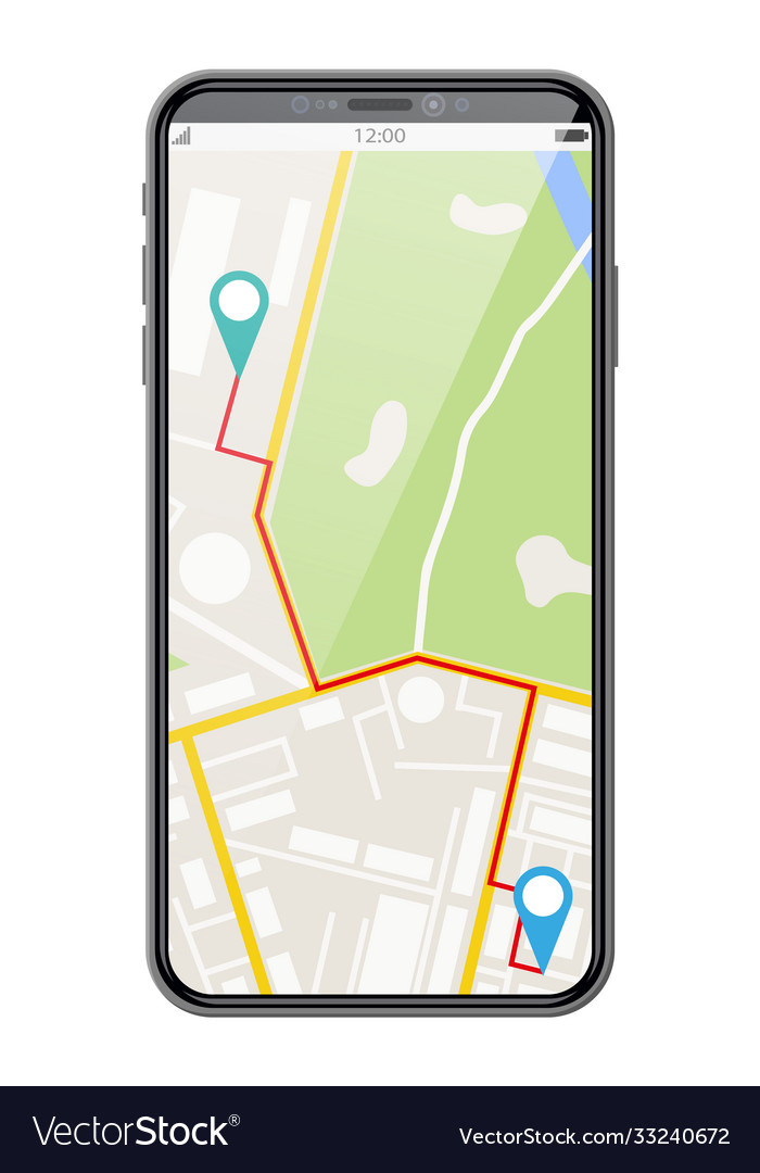 Modern smartphone with map and marker