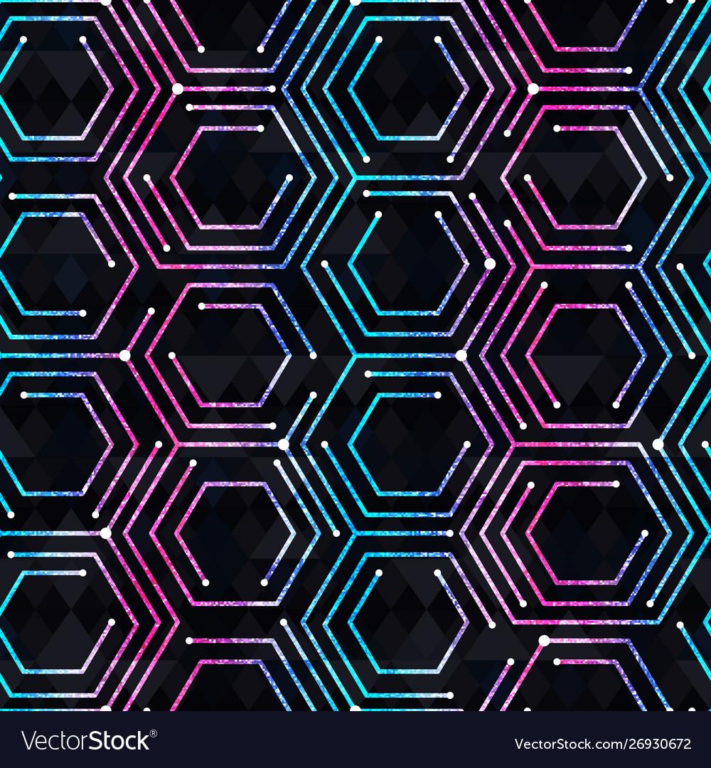 Neon geometric seamless pattern