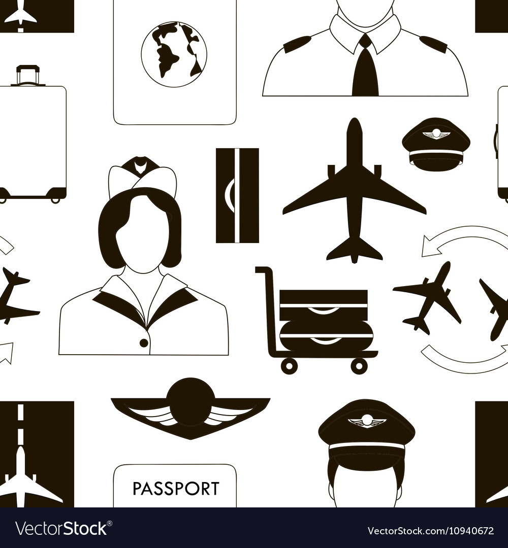 Pilot and stewardess at work vector image