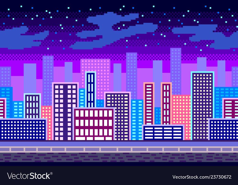 Pixel art night city seamless background detailed