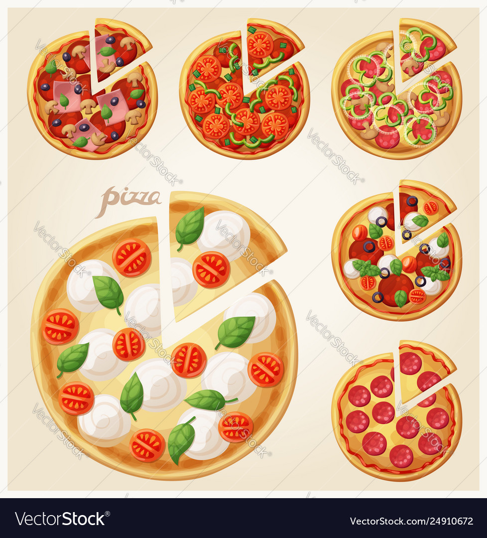 Pizza top view set italian pizza with slices