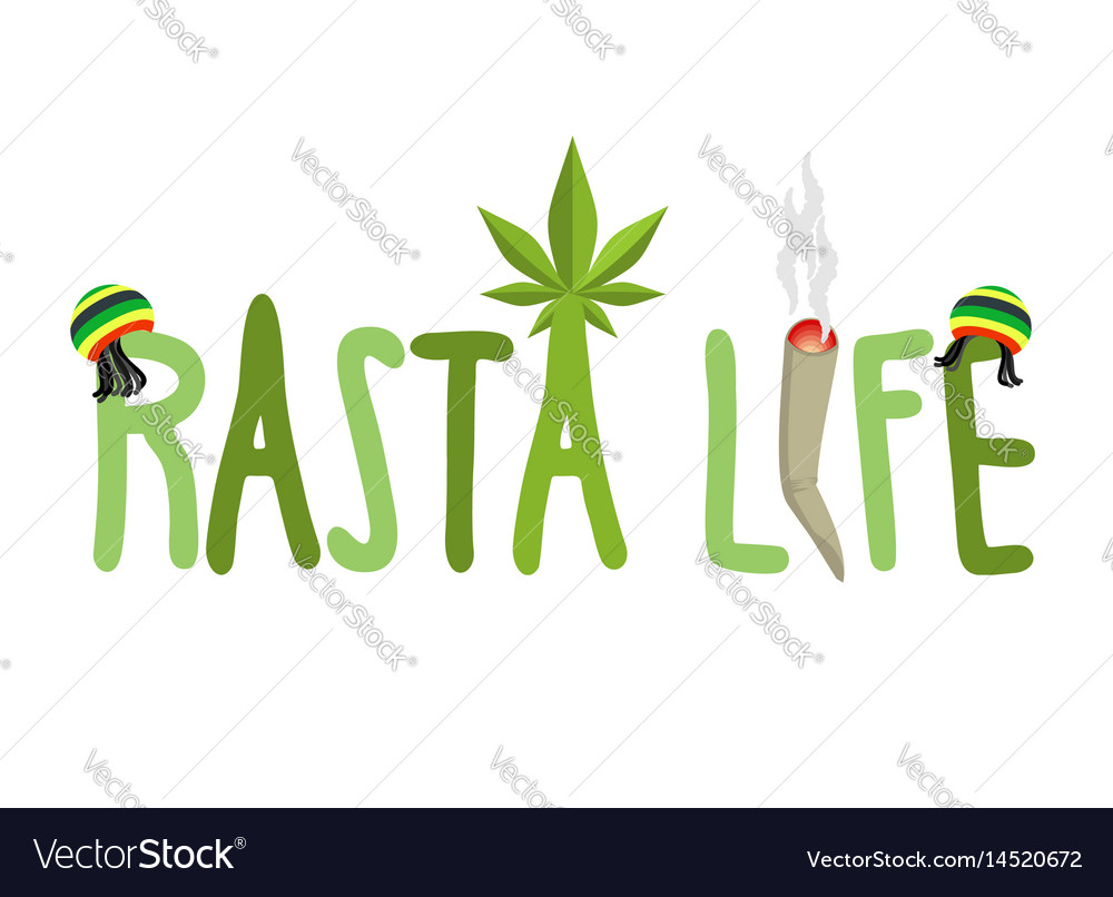 Rasta life typography hemp rastafarian cap and vector image