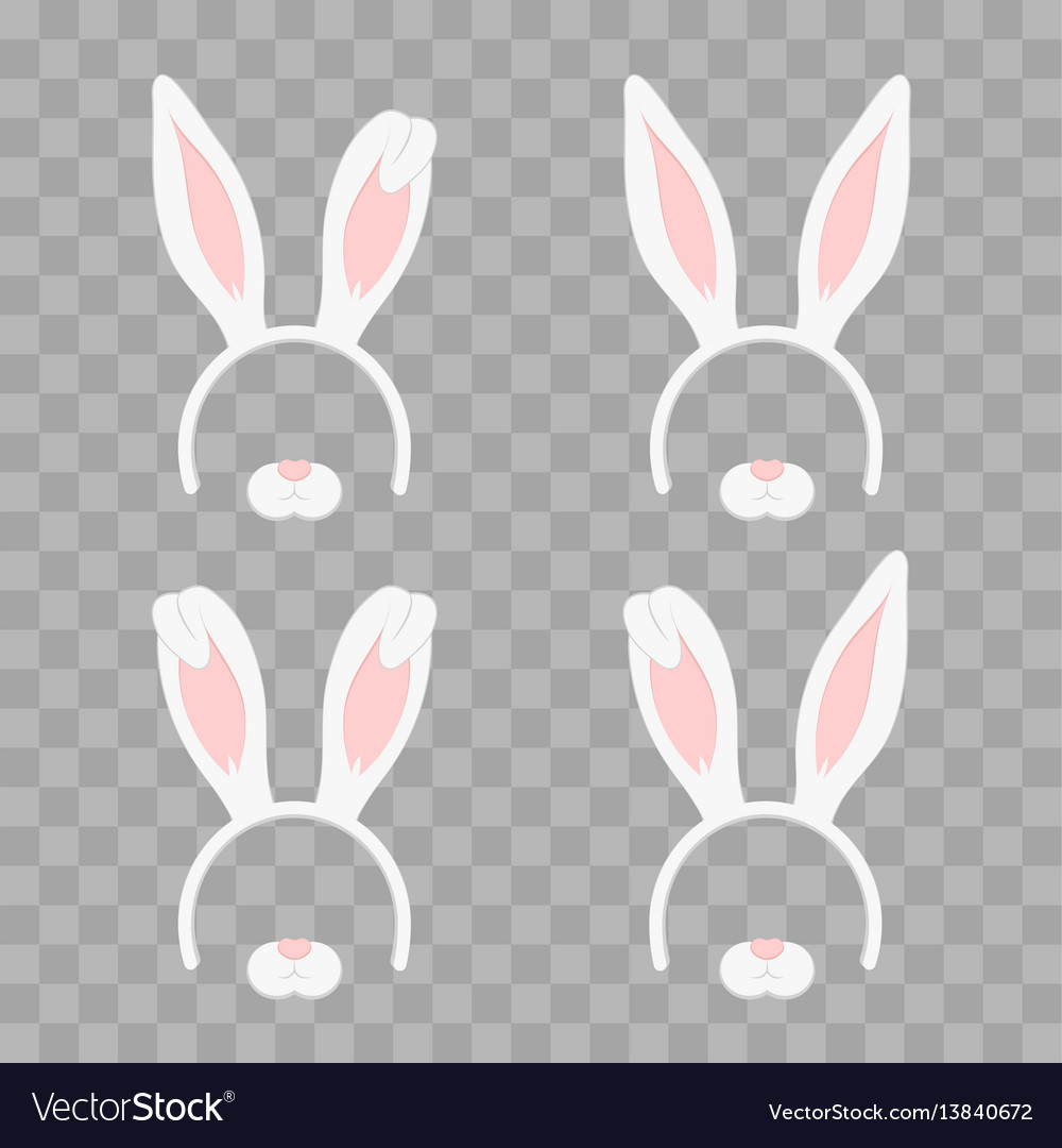 Set of easter mask with rabbit ears isolated on