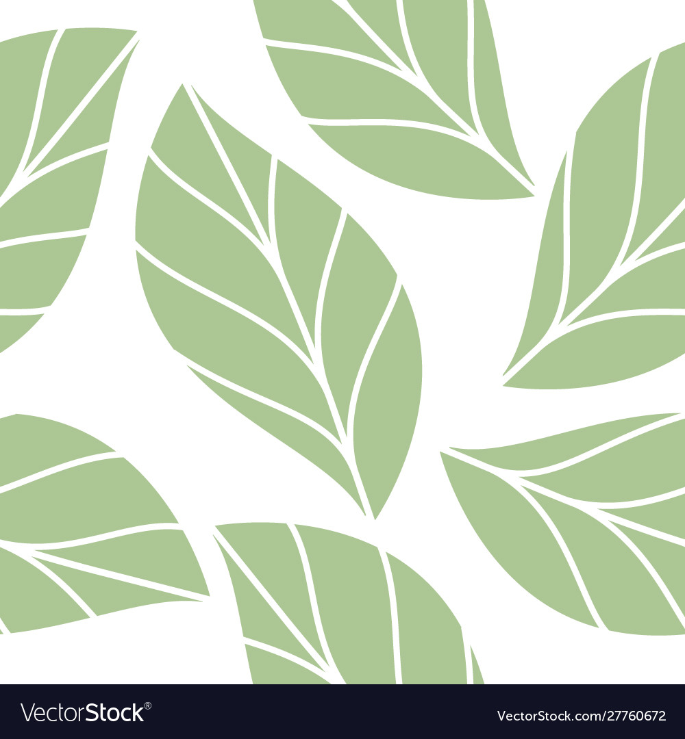 Soft green leaves seamless repeating pattern
