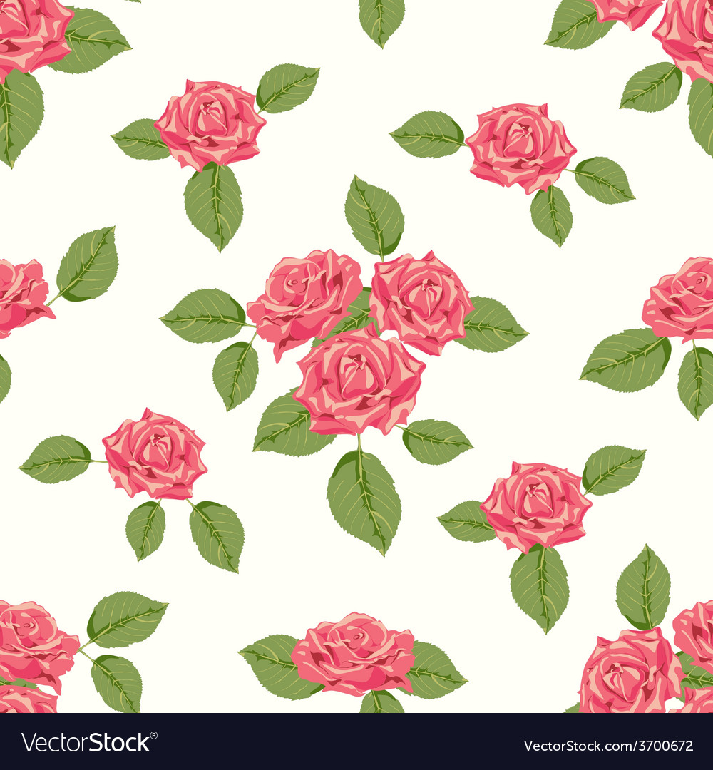 Vintage seamless pattern with roses