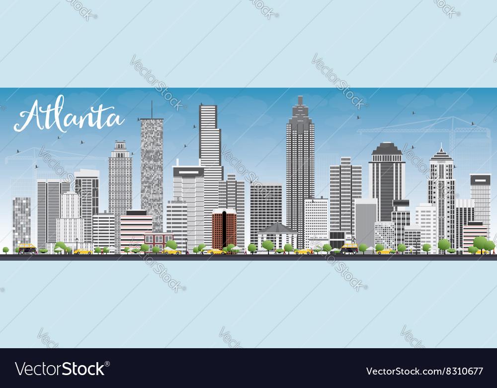 atlanta skyline with gray buildings and blue sky vector image