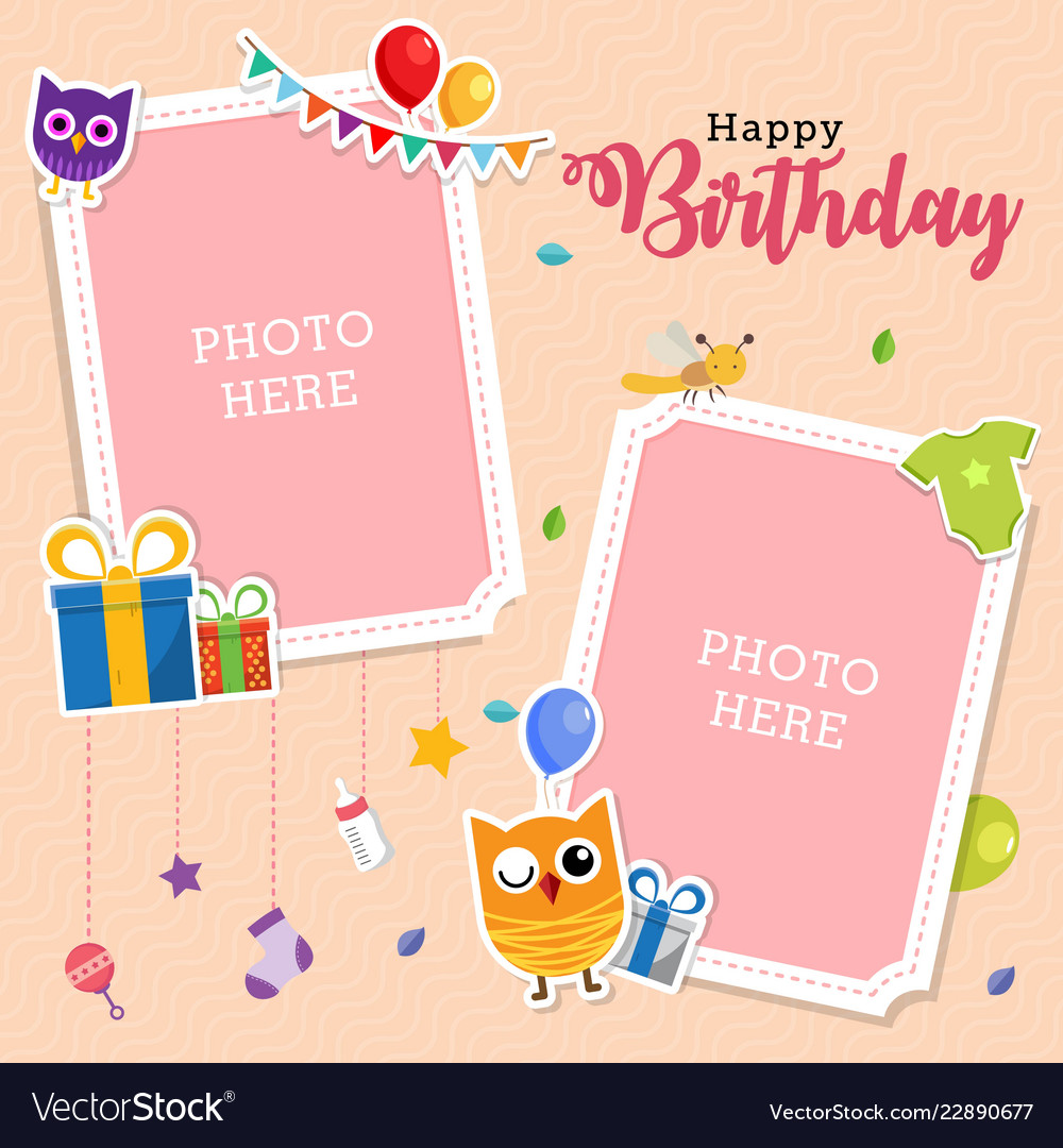 baby photo frames template royalty free vector image