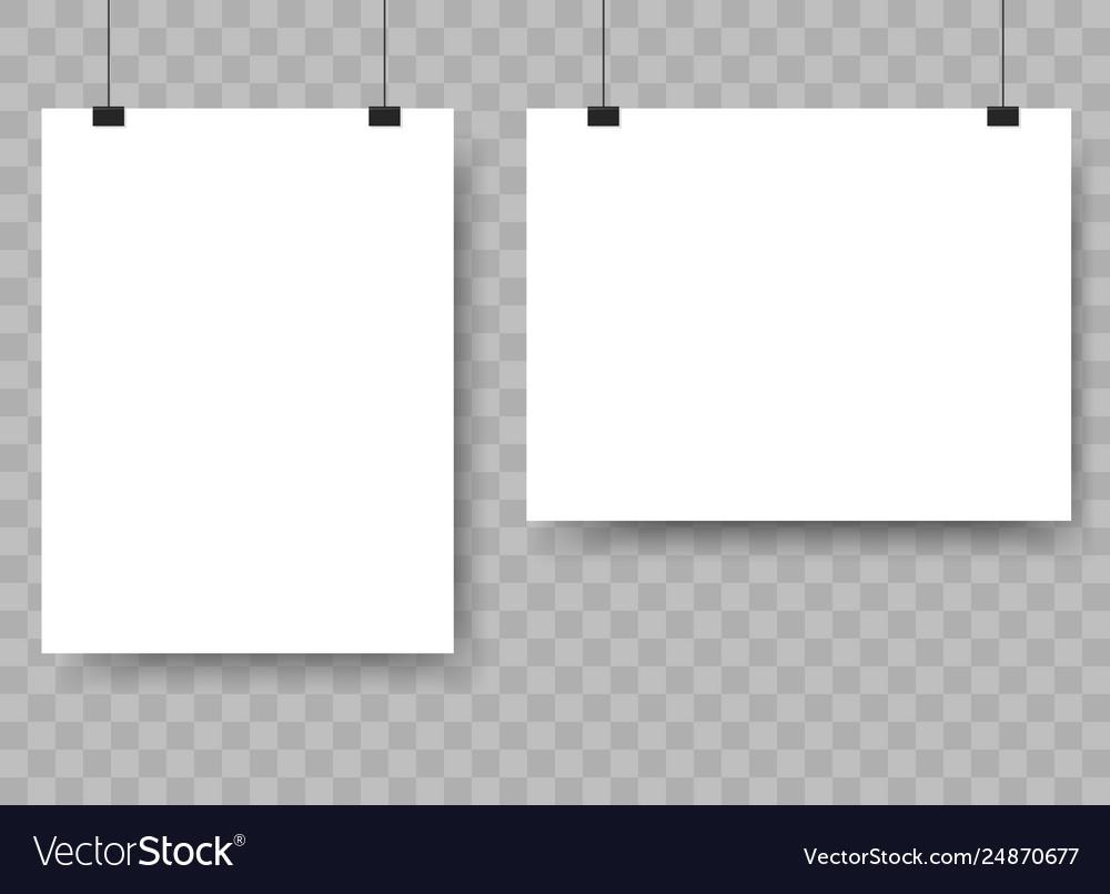 Blank paper sheet hanging on binders advertising