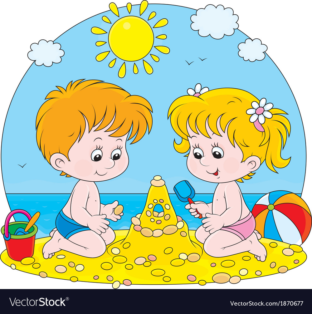 Children play on a beach vector image