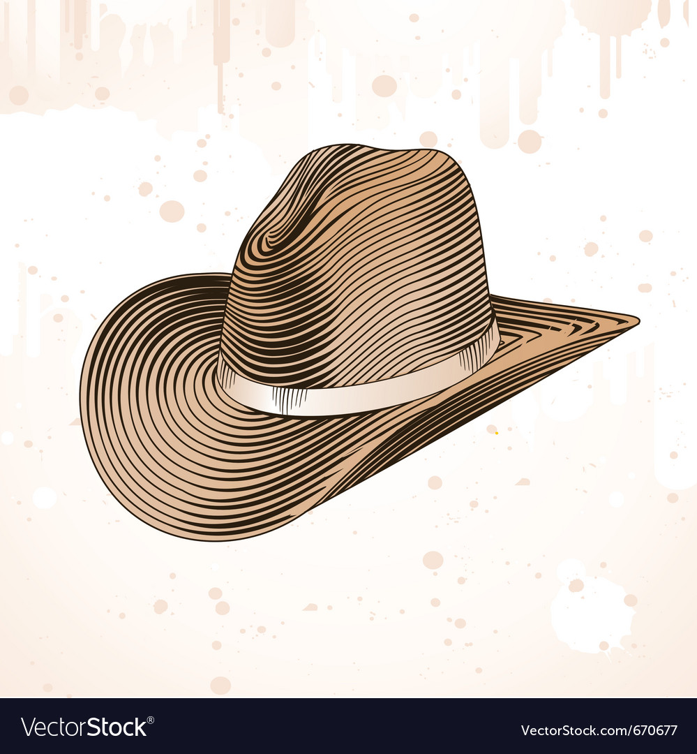 Cowboy hat in engraving style