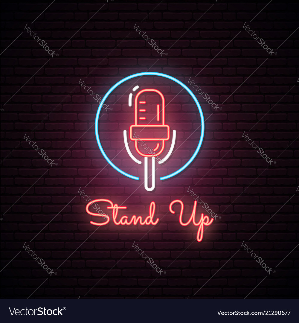 Glowing microphone neon sign
