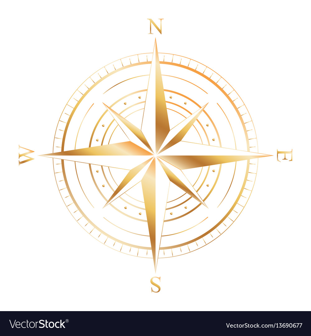 Gold compass rose
