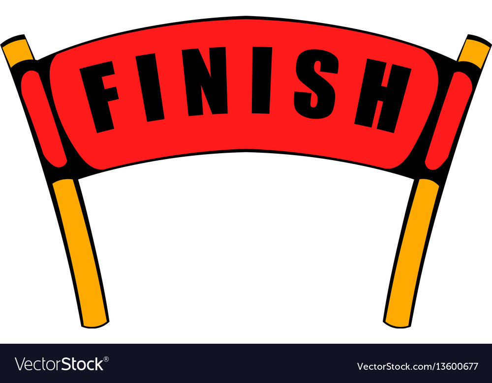 Red ribbon in finishing line icon icon cartoon