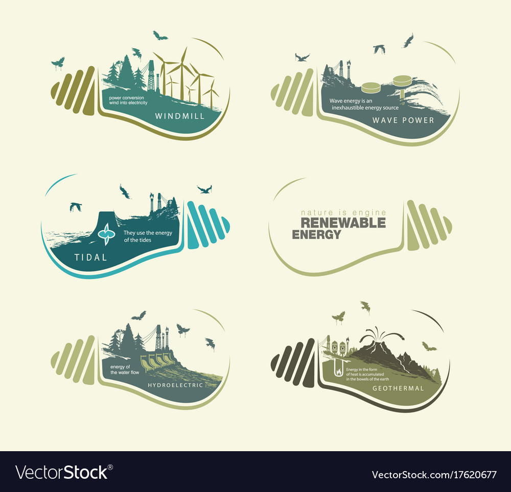 Renewable energy set of earth in bulb the concept vector image
