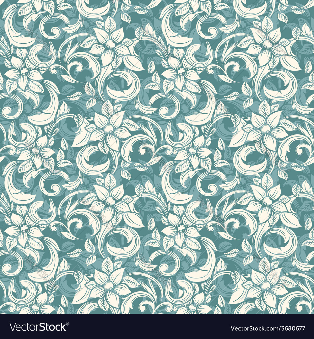 Seamless beige floral pattern in the style of