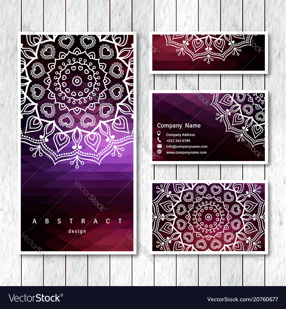 Set of business visiting greeting cards
