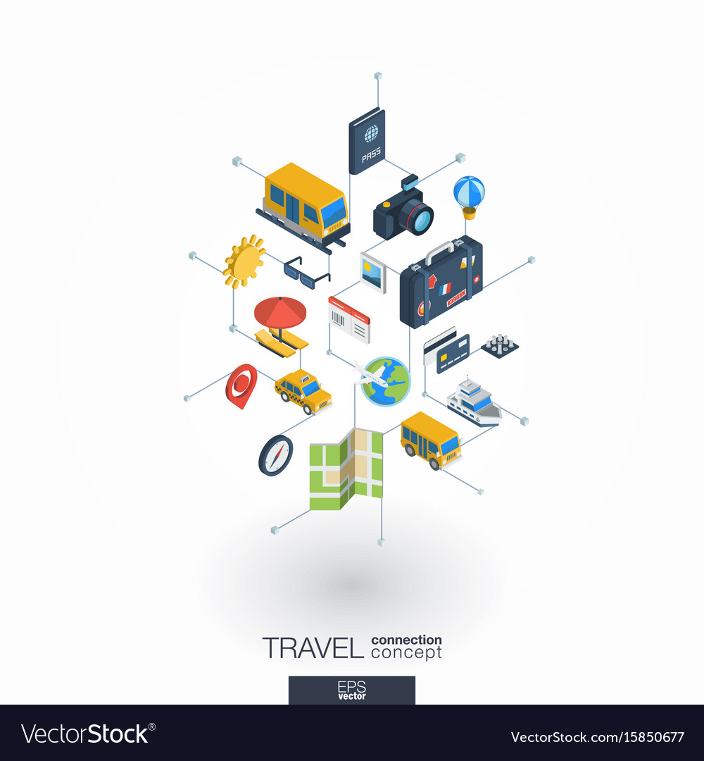 Travel integrated 3d web icons digital network