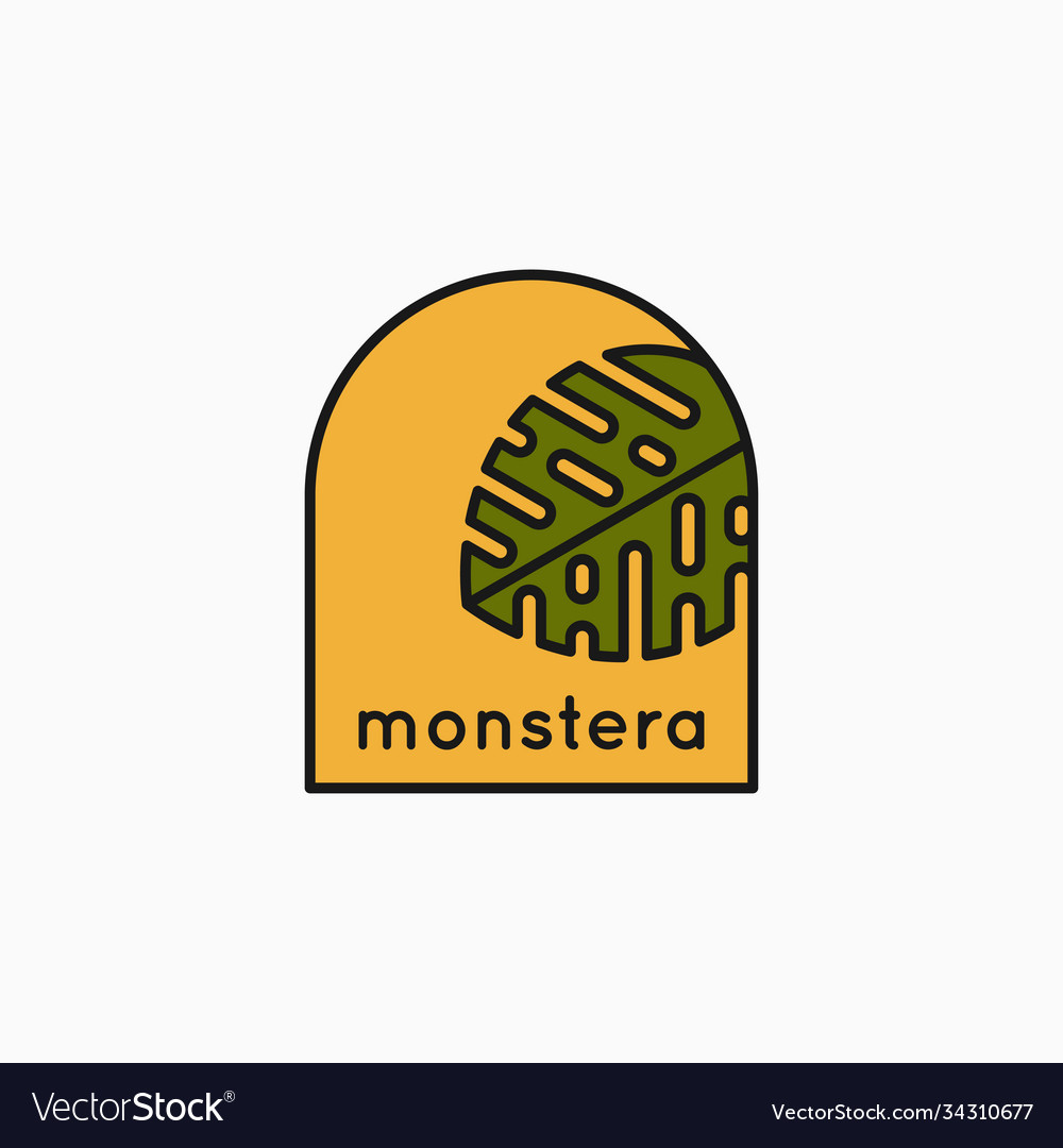 Tropical leaves linear logo monstera leaves icon