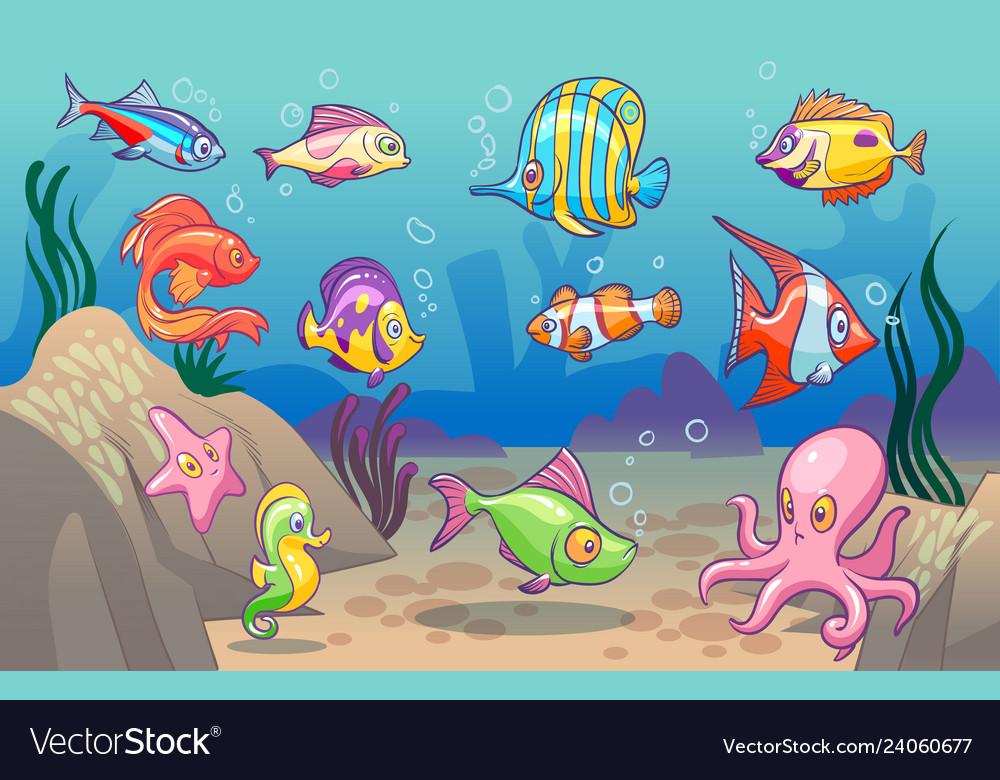 Underwater scene cute sea tropical fishes ocean