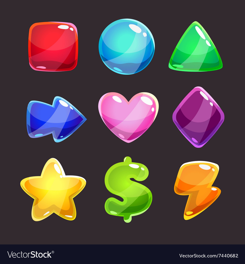 Colorful glossy shapes icons set