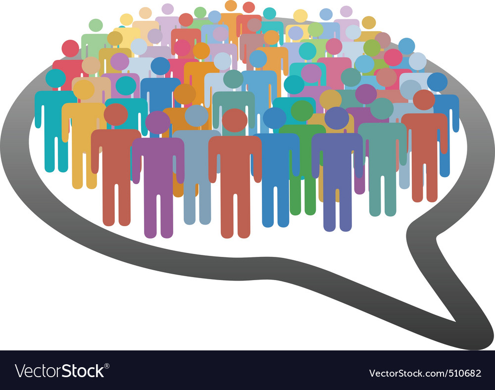 Crowd social media people speech bubble network vector image