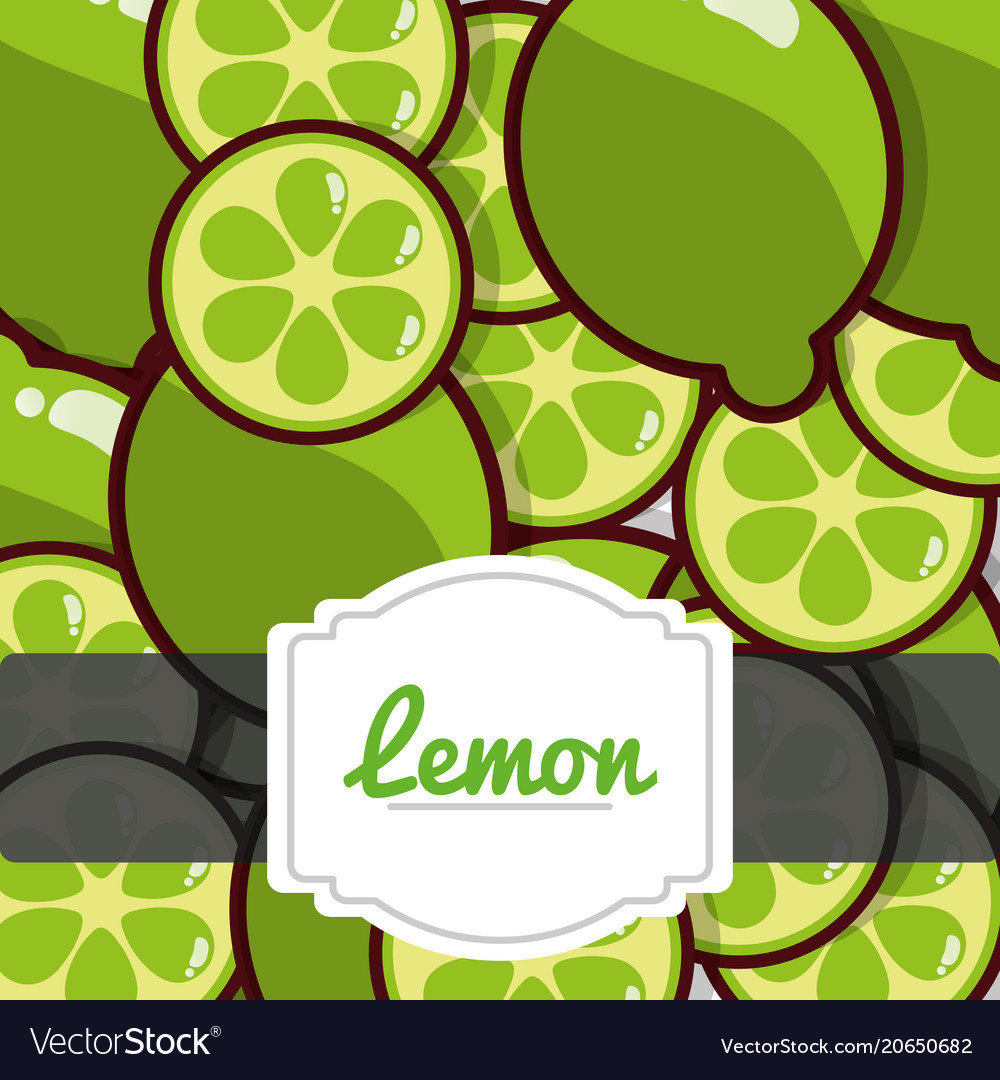 Delicious lemon fresh fruit label pattern