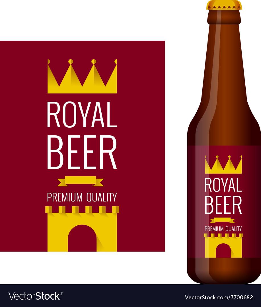 Design of beer label and bottle of beer