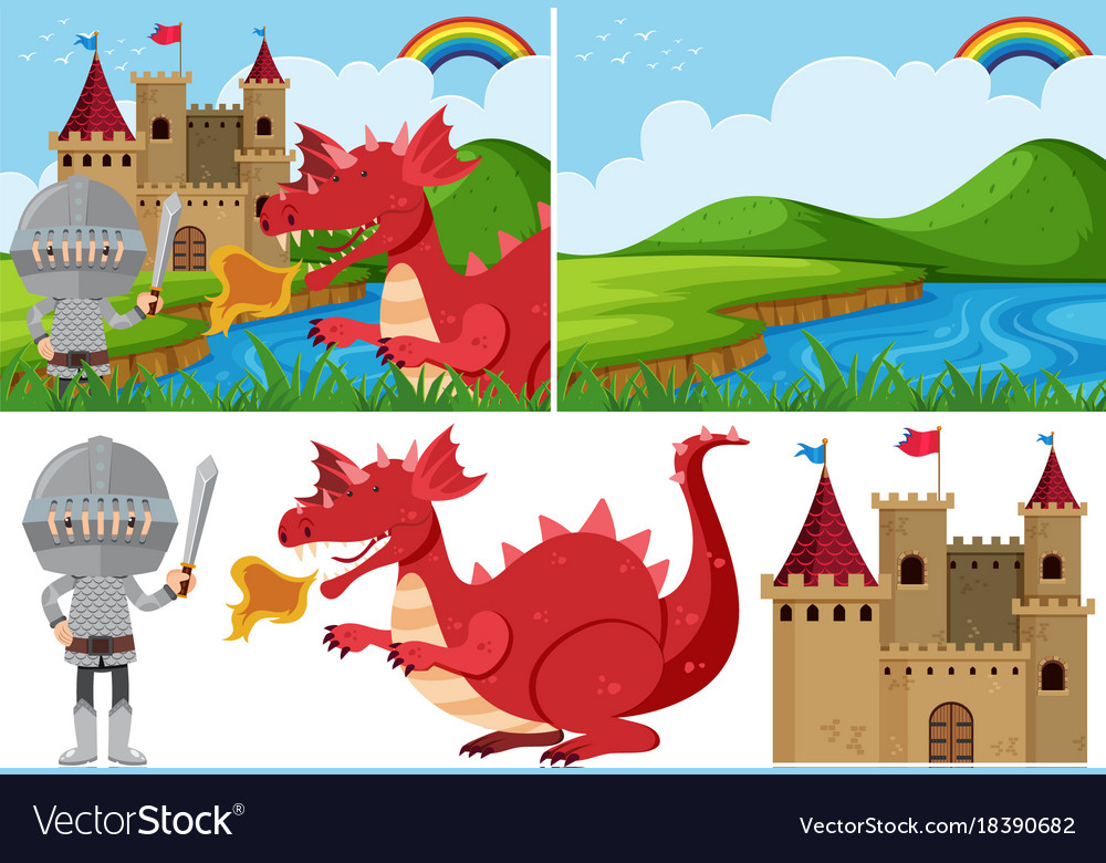 Different fairytale scenes with knight and dragon