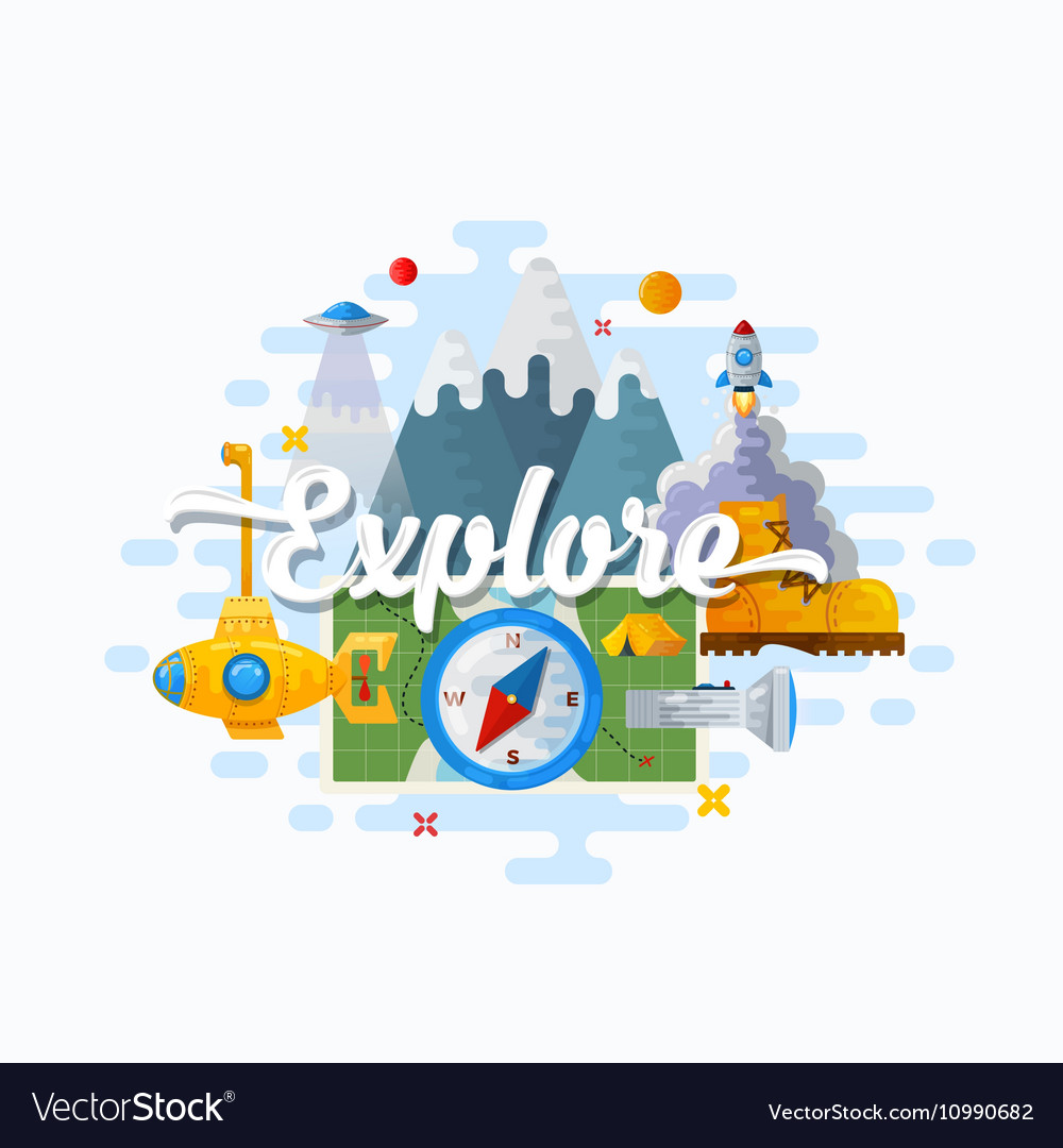 Explore Abstract Flat Style Modern vector image