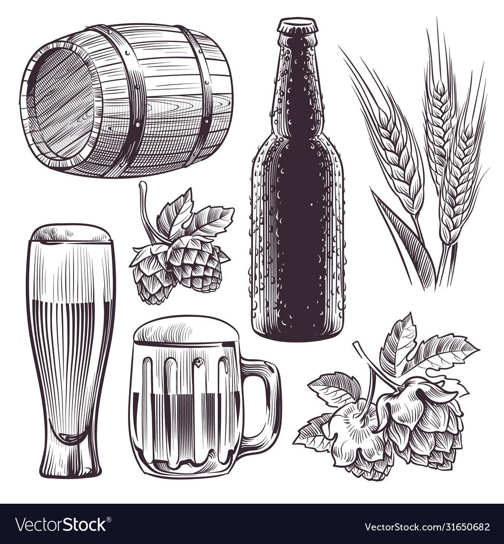 Hand drawn beer mug barrel and beer
