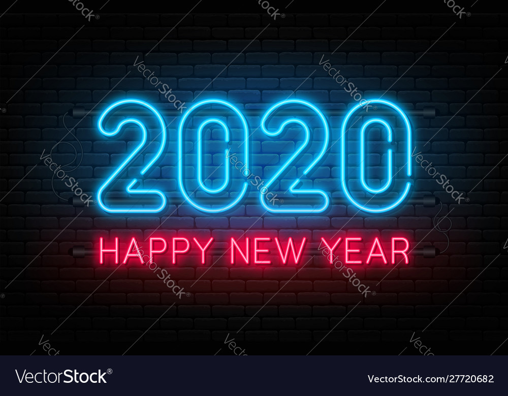 Happy new year 2020 neon sign glowing text for