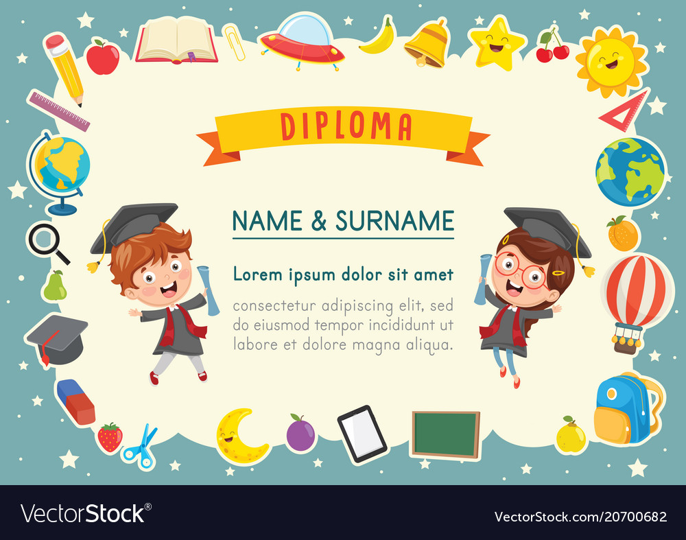 kids diploma royalty free vector image vectorstock