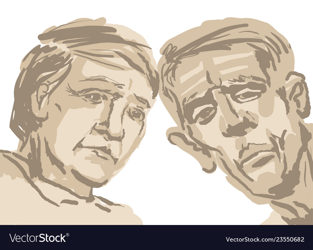 Sketch depicting two faces of old people in brown vector image