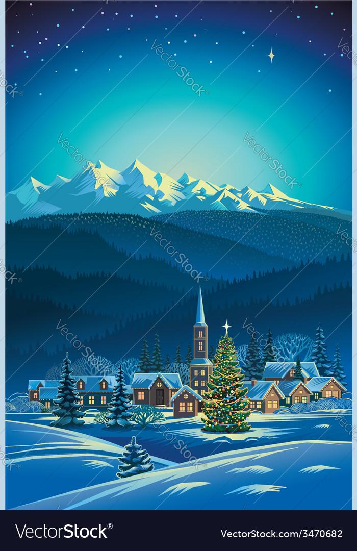 Winter rural holiday landscape